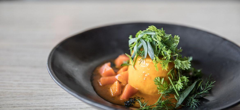 Pt Leo Restaurant_Dutch Carrot Souffle, brown butter, wild scampi roe, brioche_Rhiannon Taylor